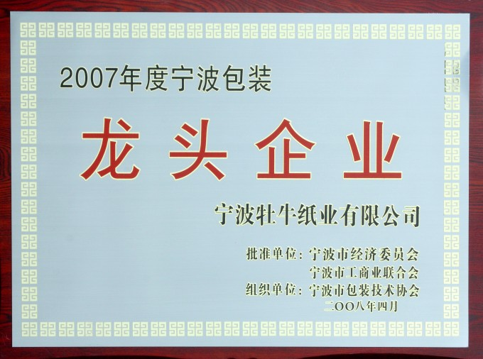 荣获2007年包装龙头企业